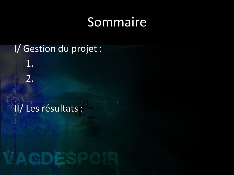 Sommaire I/ Gestion du projet : 1. 2. II/ Les résultats :