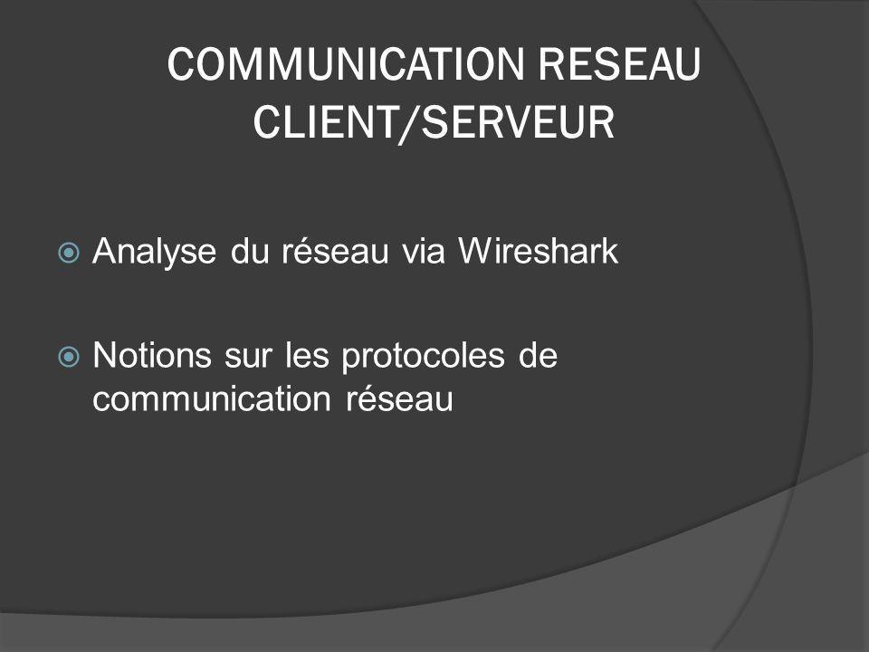 COMMUNICATION RESEAU CLIENT/SERVEUR Analyse du réseau via Wireshark Notions sur les protocoles de communication réseau