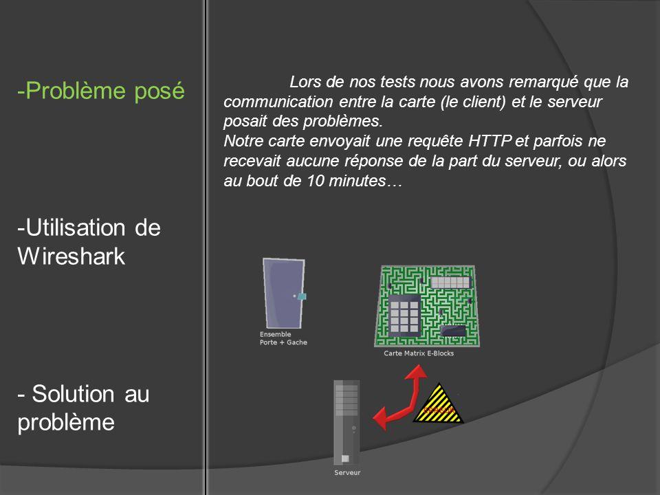 -Problème posé -Utilisation de Wireshark - Solution au problème Lors de nos tests nous avons remarqué que la communication entre la carte (le client) et le serveur posait des problèmes.