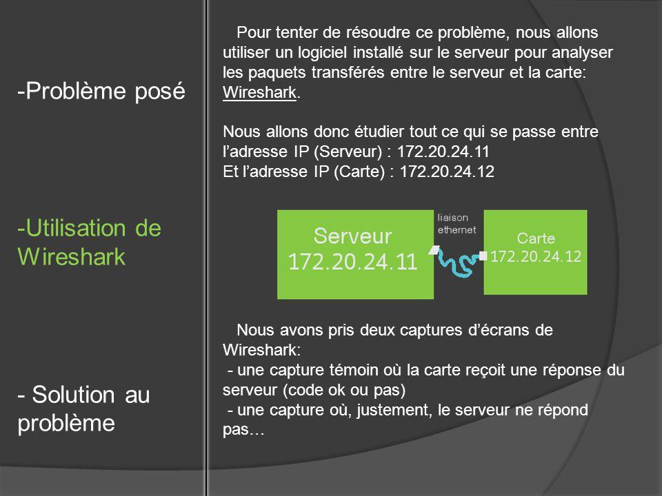 Pour tenter de résoudre ce problème, nous allons utiliser un logiciel installé sur le serveur pour analyser les paquets transférés entre le serveur et la carte: Wireshark.