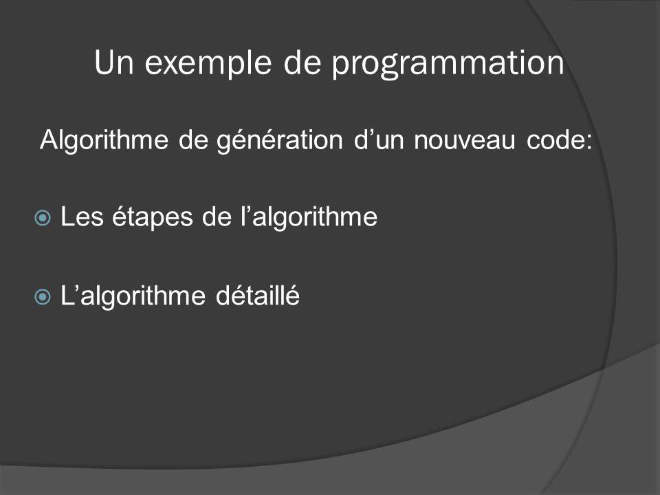 Algorithme de génération dun nouveau code: Un exemple de programmation Les étapes de lalgorithme Lalgorithme détaillé