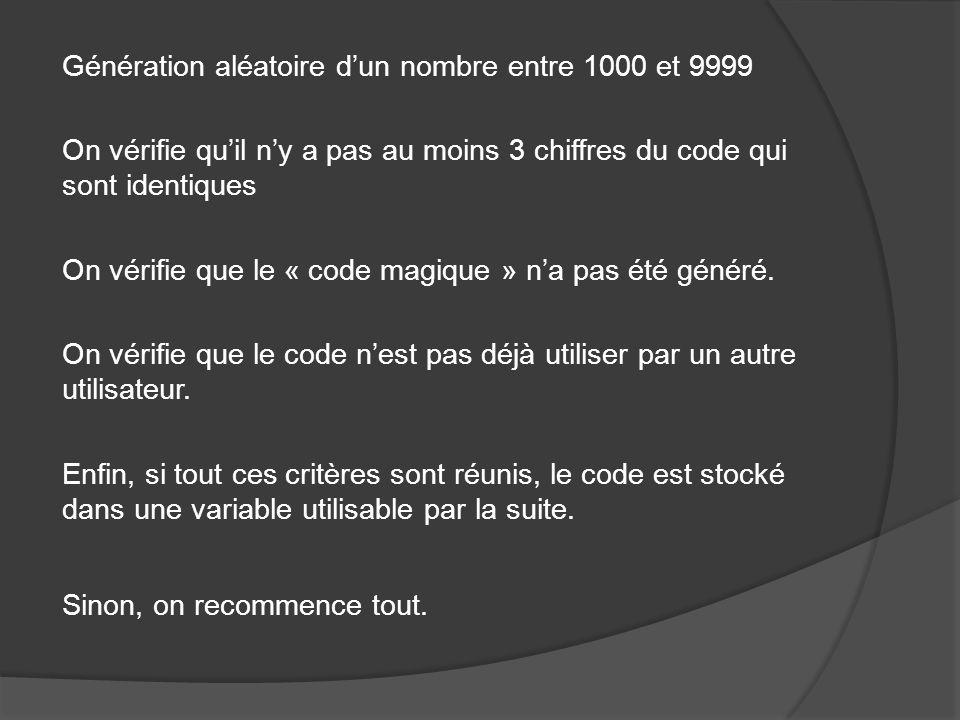 Génération aléatoire dun nombre entre 1000 et 9999 On vérifie quil ny a pas au moins 3 chiffres du code qui sont identiques On vérifie que le « code magique » na pas été généré.