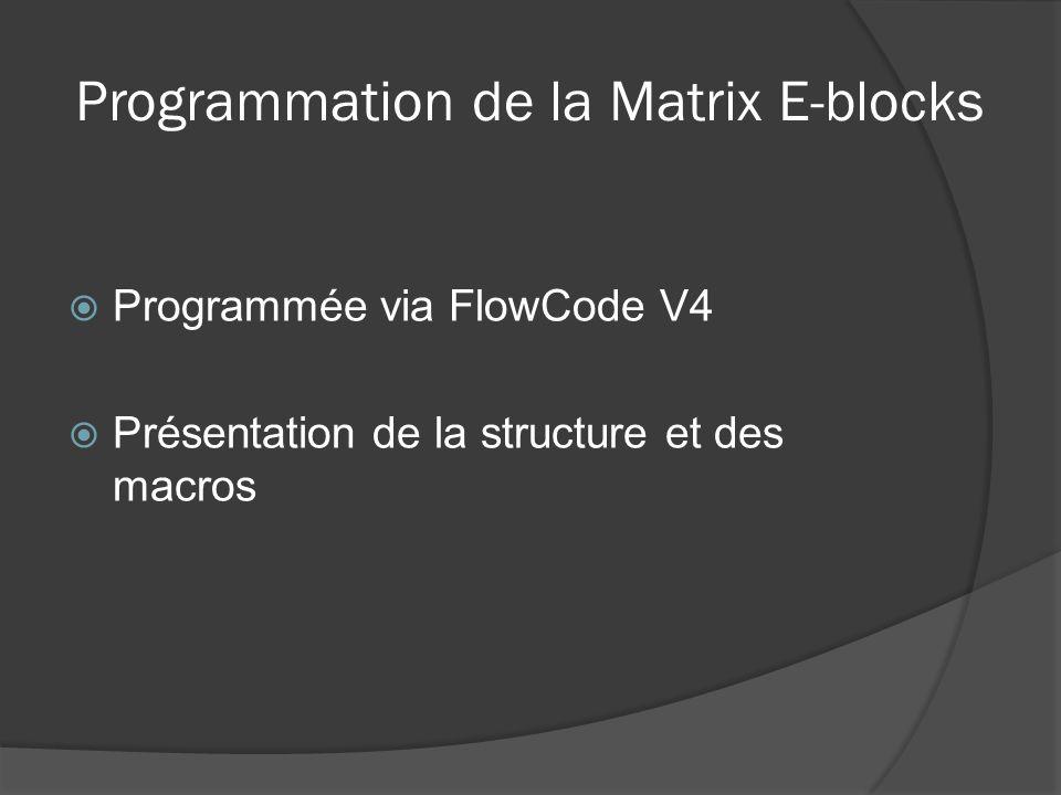 Programmation de la Matrix E-blocks Programmée via FlowCode V4 Présentation de la structure et des macros