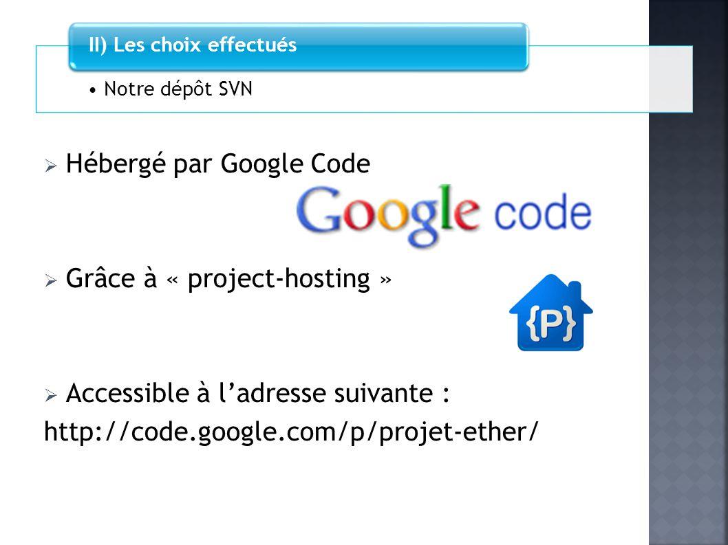 Hébergé par Google Code Grâce à « project-hosting » Accessible à ladresse suivante : http://code.google.com/p/projet-ether/ Notre dépôt SVN II) Les ch