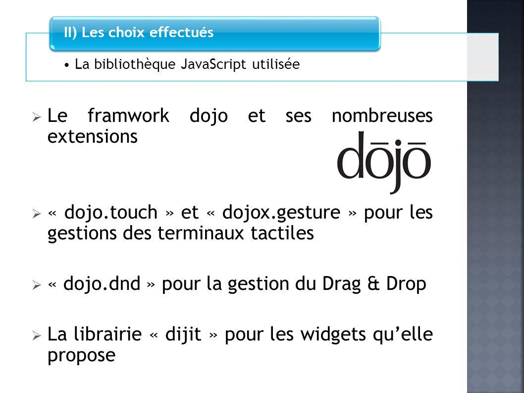 Le framwork dojo et ses nombreuses extensions « dojo.touch » et « dojox.gesture » pour les gestions des terminaux tactiles « dojo.dnd » pour la gestio