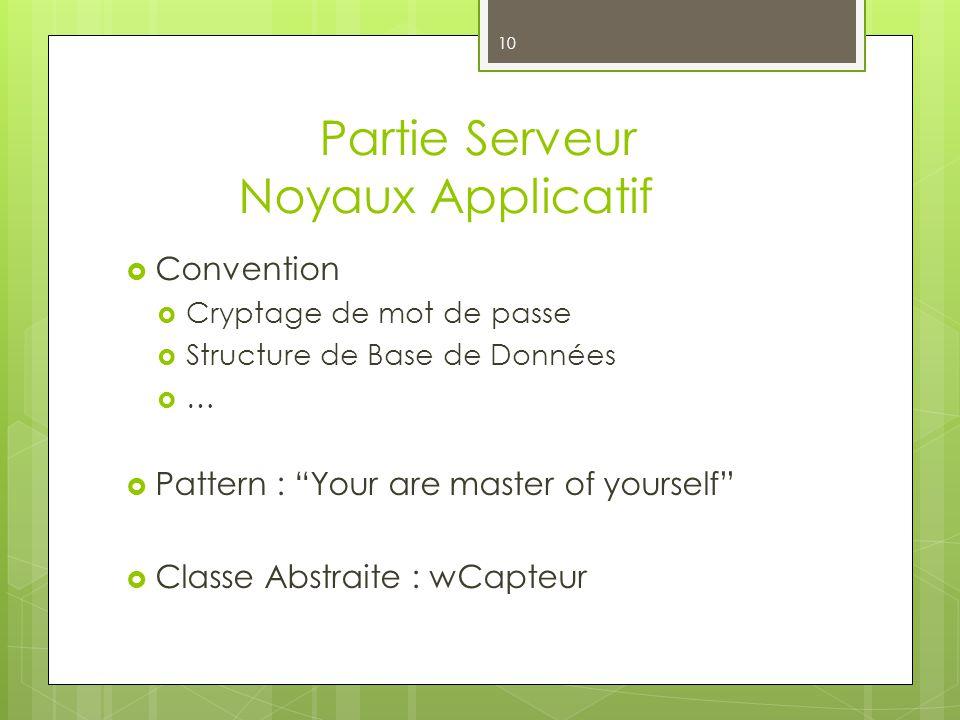 Partie Serveur Noyaux Applicatif 10 Convention Cryptage de mot de passe Structure de Base de Données … Pattern : Your are master of yourself Classe Ab