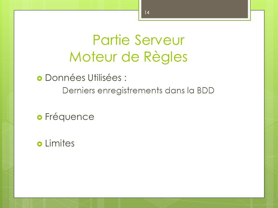 Partie Serveur Moteur de Règles 14 Données Utilisées : Derniers enregistrements dans la BDD Fréquence Limites