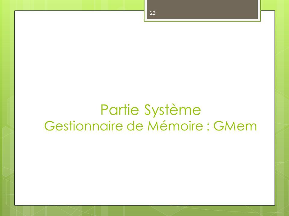 Partie Système Gestionnaire de Mémoire : GMem 22