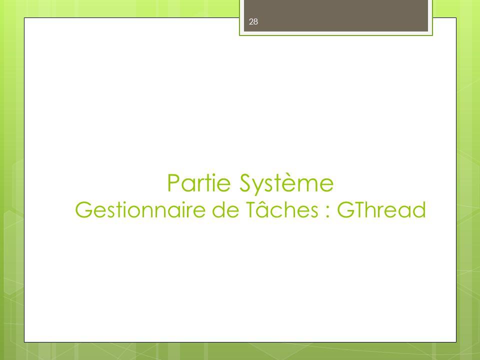 Partie Système Gestionnaire de Tâches : GThread 28