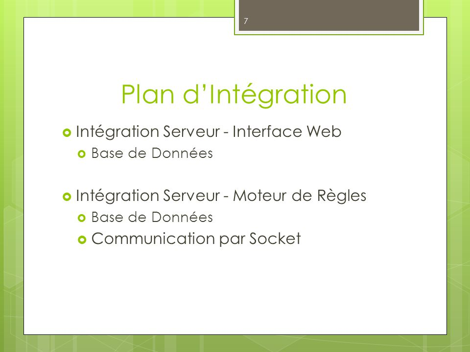 Plan dIntégration 7 Intégration Serveur - Interface Web Base de Données Intégration Serveur - Moteur de Règles Base de Données Communication par Socke