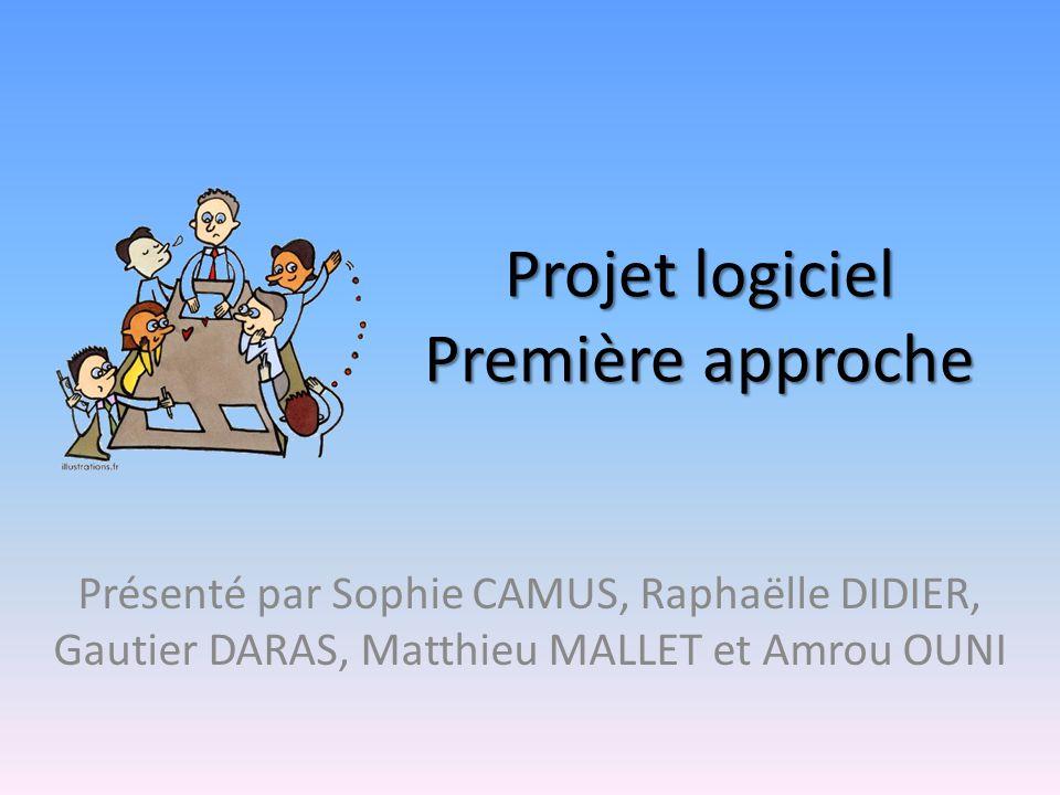Projet logiciel Première approche Présenté par Sophie CAMUS, Raphaëlle DIDIER, Gautier DARAS, Matthieu MALLET et Amrou OUNI