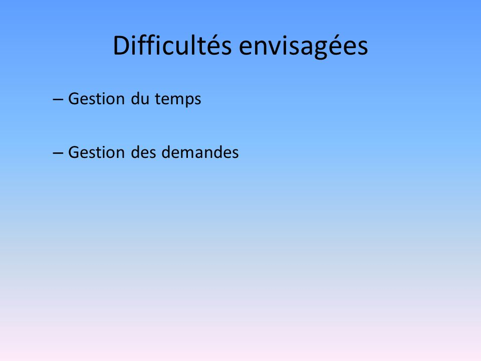 Difficultés envisagées – Gestion du temps – Gestion des demandes