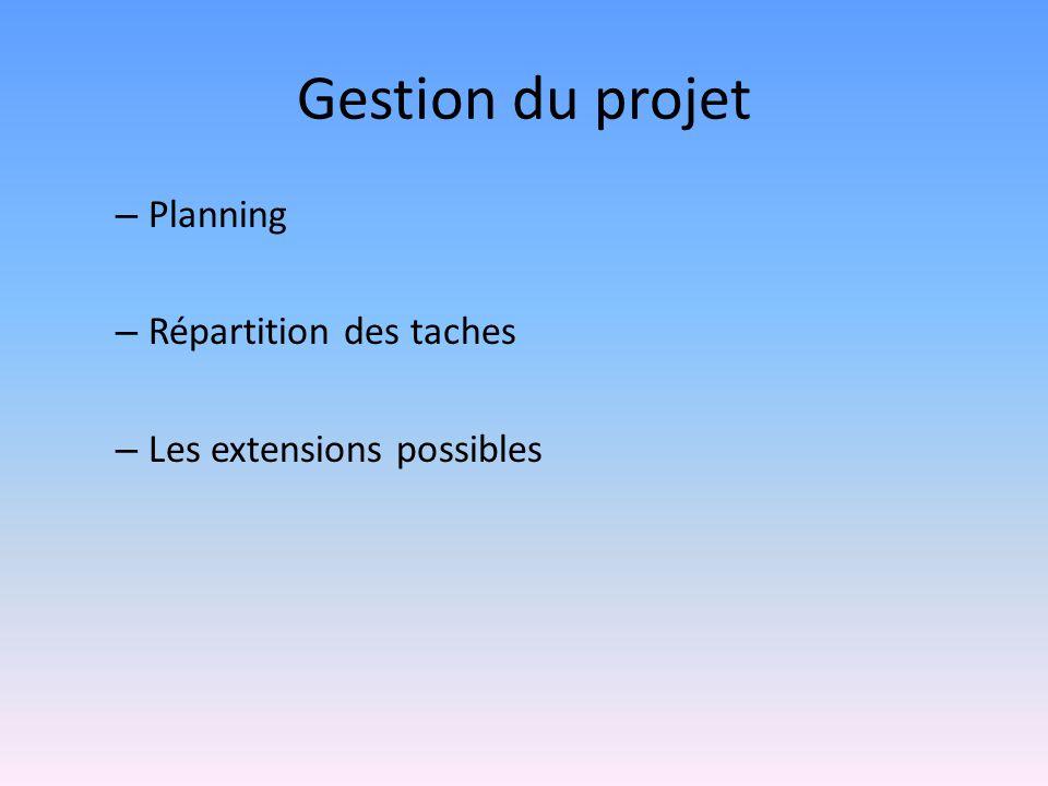Gestion du projet – Planning – Répartition des taches – Les extensions possibles