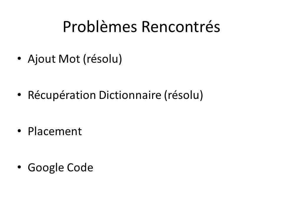 Problèmes Rencontrés Ajout Mot (résolu) Récupération Dictionnaire (résolu) Placement Google Code