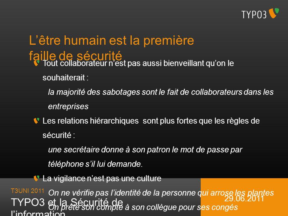 T3UNI 2011 TYPO3 et la Sécurité de linformation 29.06.2011 Lêtre humain est la première faille de sécurité Tout collaborateur nest pas aussi bienveill
