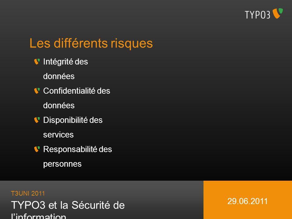 T3UNI 2011 TYPO3 et la Sécurité de linformation 29.06.2011 Les différents risques Intégrité des données Confidentialité des données Disponibilité des services Responsabilité des personnes => Transactions, Détection des incohérences, Sauvegarde => Authentification, Droits daccès, Détection dintrusion => Redondance, Récupération après incident, DOS, Supervision => Usage indu, Traçabilité, Maintenance