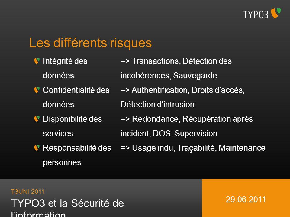 T3UNI 2011 TYPO3 et la Sécurité de linformation 29.06.2011 Les évidences quon oublie quand même Changer les mots de passe par défaut (admin/password et joh316) Mettez à jour TYPO3, ses extensions, ainsi que les logiciels support (LAMP) Supprimer les dossiers et fichiers inutiles (MISC,.bak,.sql) Désactivez l opions indexes d APACHE Limitez l accès au BE aux personnes pertinentes par une technique forte (LAN ou VPN) Choisissez vos extensions (en évitant les alpha/expérimental de 2006)