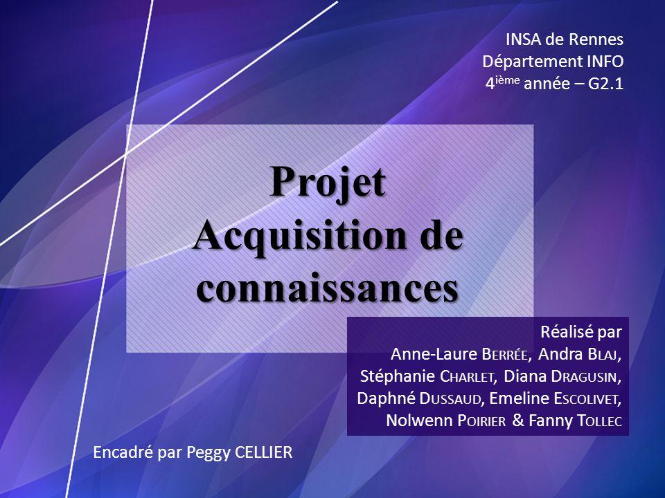 Projet Acquisition de connaissances Réalisé par Anne-Laure B ERRÉE, Andra B LAJ, Stéphanie C HARLET, Diana D RAGUSIN, Daphné D USSAUD, Emeline E SCOLI