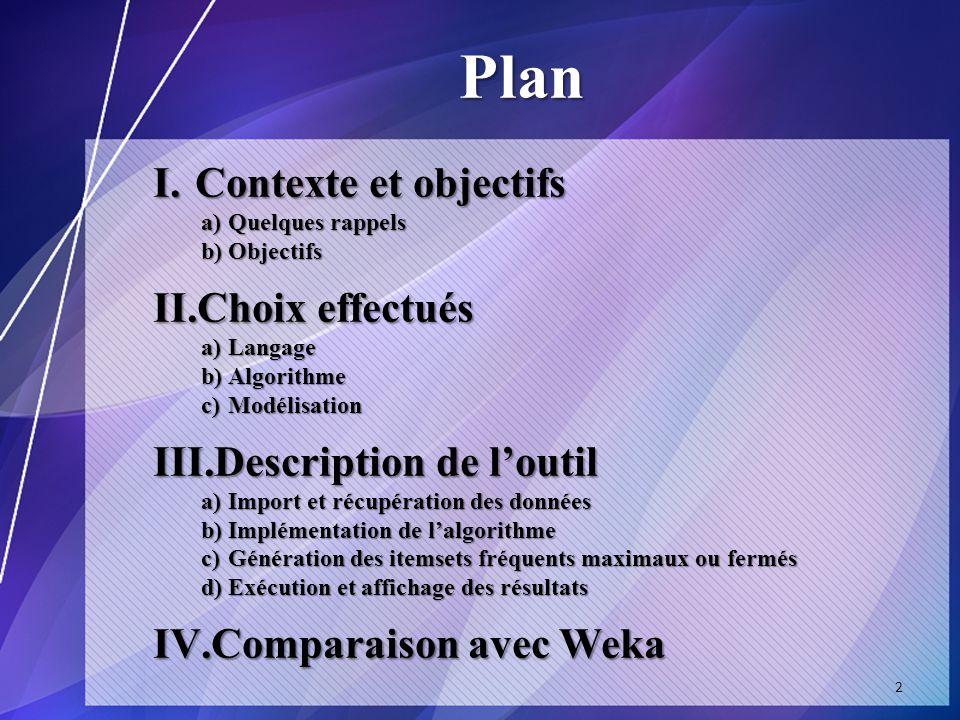 Plan I.Contexte et objectifs a)Quelques rappels b)Objectifs II.Choix effectués a)Langage b)Algorithme c)Modélisation III.Description de loutil a)Import et récupération des données b)Implémentation de lalgorithme c)Génération des itemsets fréquents maximaux ou fermés d)Exécution et affichage des résultats IV.Comparaison avec Weka 2