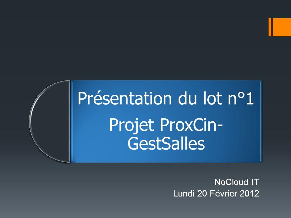 Présentation du lot n°1 Projet ProxCin- GestSalles NoCloud IT Lundi 20 Février 2012