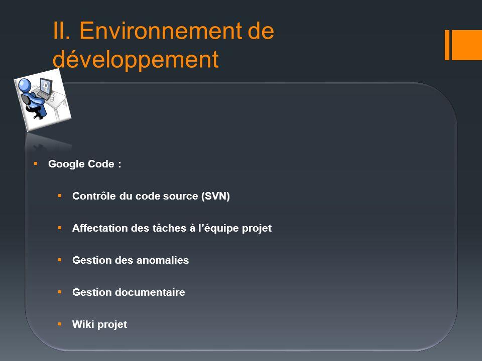 II. Environnement de développement Google Code : Contrôle du code source (SVN) Affectation des tâches à léquipe projet Gestion des anomalies Gestion d