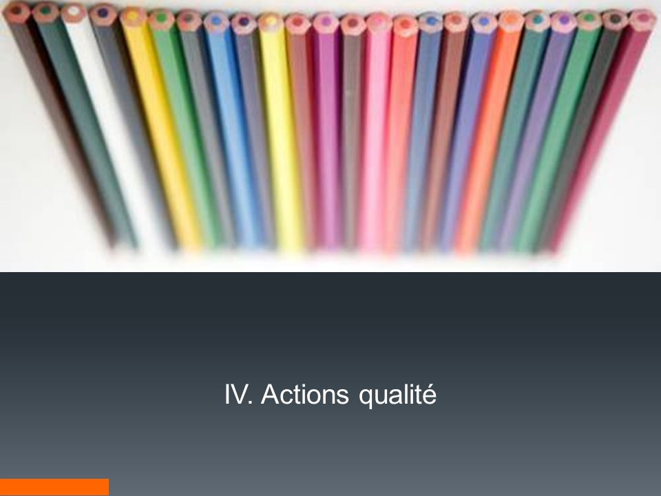 IV. Actions qualité