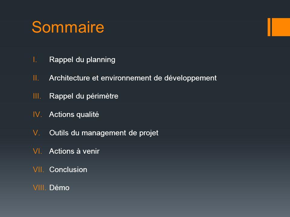 Sommaire I.Rappel du planning II.Architecture et environnement de développement III.Rappel du périmètre IV.Actions qualité V.Outils du management de p
