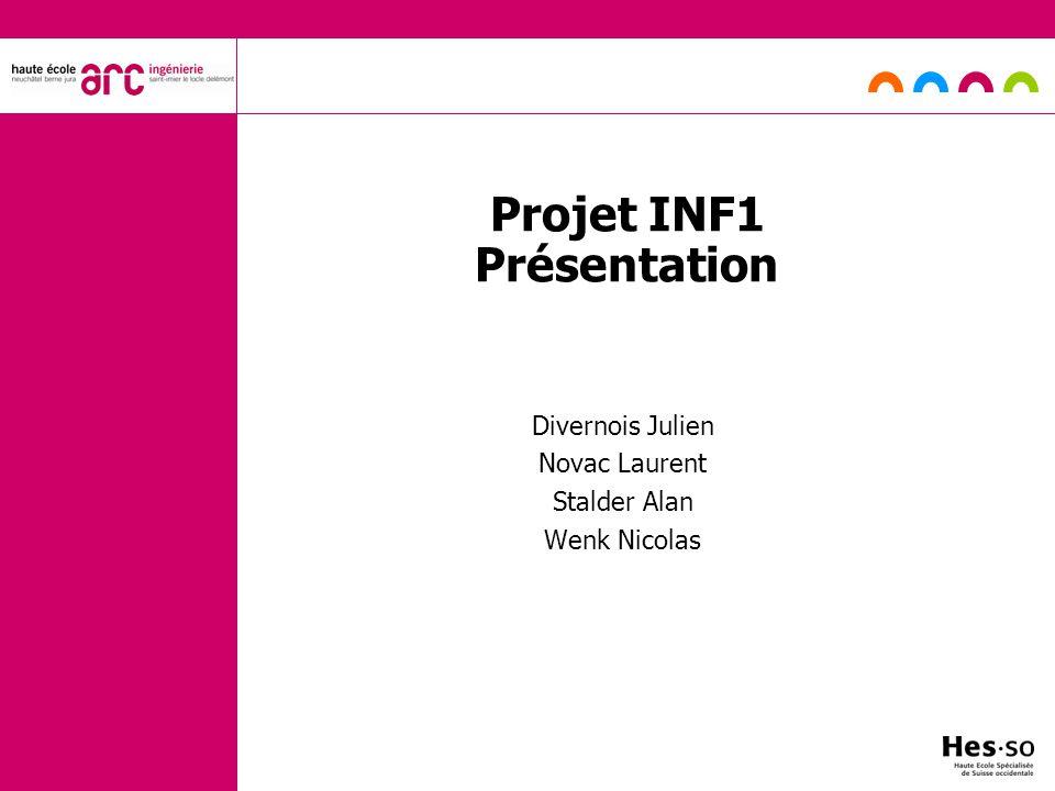 Projet INF1 Présentation Divernois Julien Novac Laurent Stalder Alan Wenk Nicolas