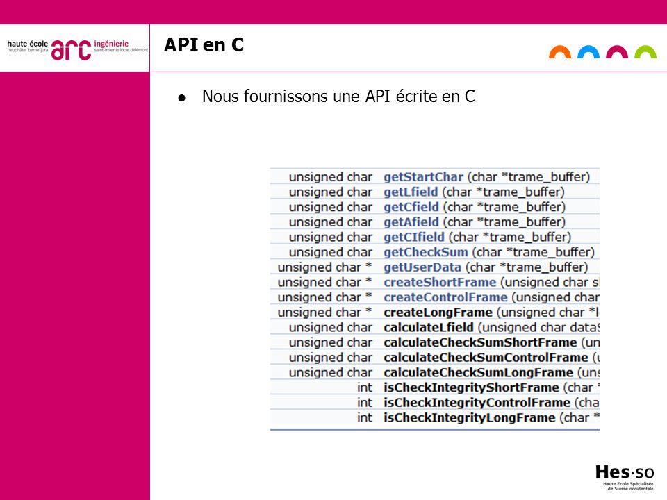 API en C Nous fournissons une API écrite en C