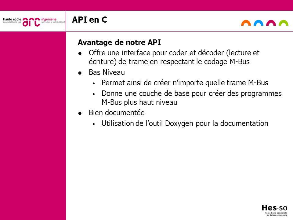 API en C Avantage de notre API Offre une interface pour coder et décoder (lecture et écriture) de trame en respectant le codage M-Bus Bas Niveau Perme