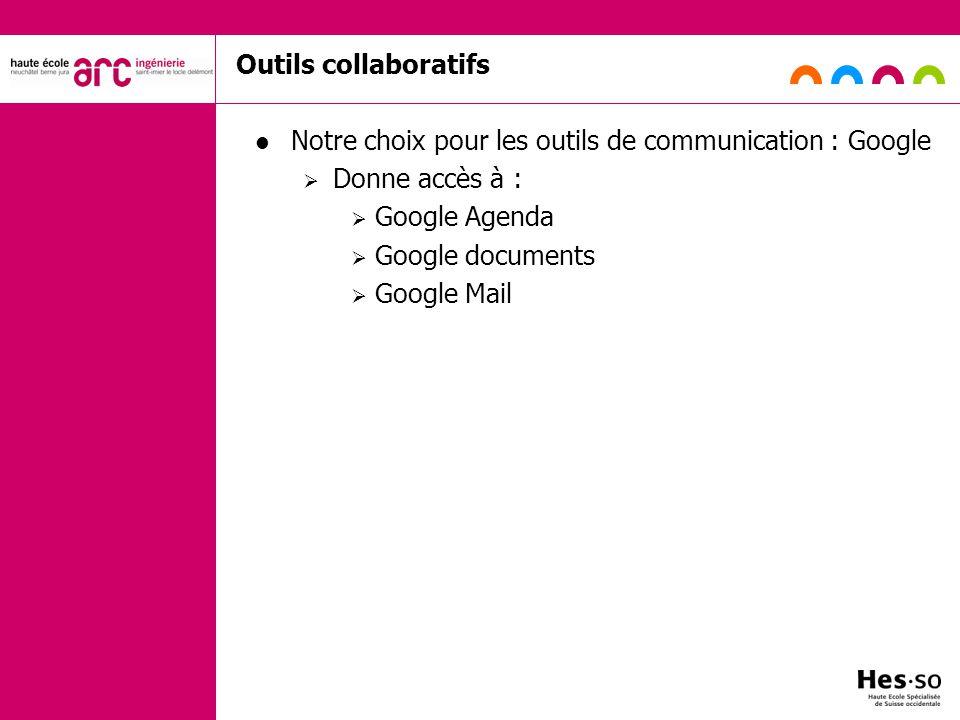 Outils collaboratifs Notre choix pour les outils de communication : Google Donne accès à : Google Agenda Google documents Google Mail