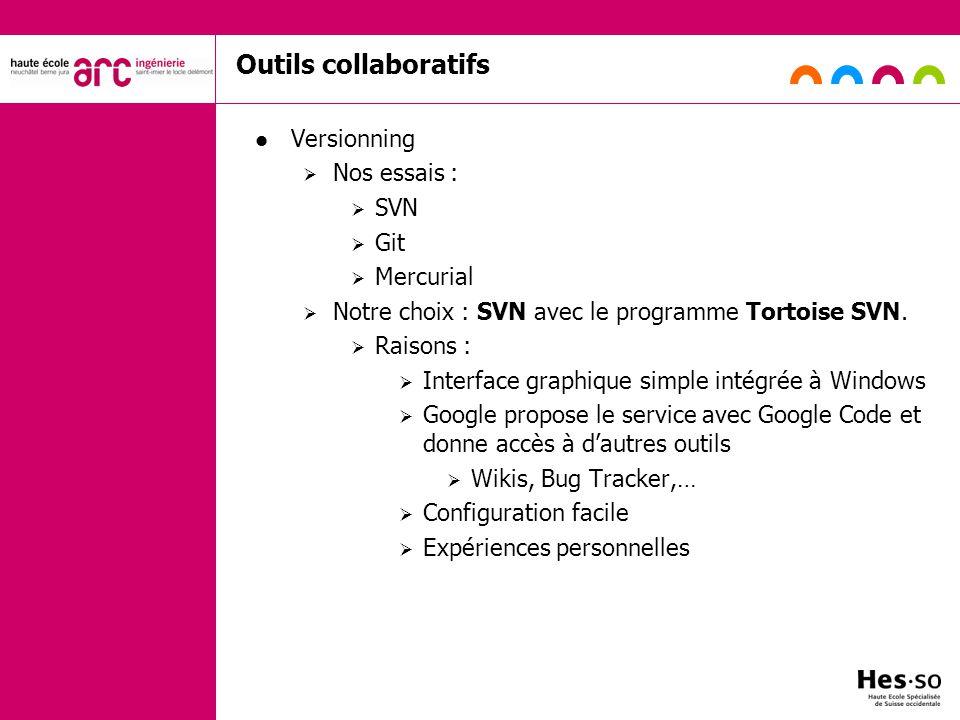 Outils collaboratifs Versionning Nos essais : SVN Git Mercurial Notre choix : SVN avec le programme Tortoise SVN. Raisons : Interface graphique simple