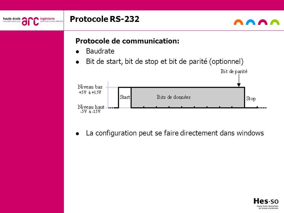 Protocole RS-232 Protocole de communication: Baudrate Bit de start, bit de stop et bit de parité (optionnel) La configuration peut se faire directemen