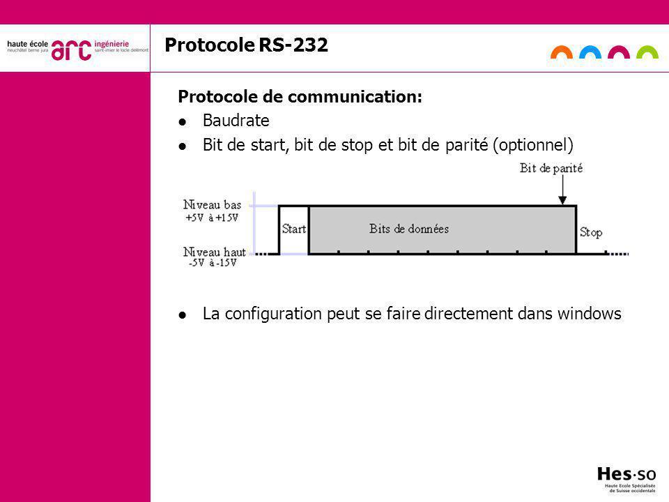 Protocole RS-232 Protocole de communication: Baudrate Bit de start, bit de stop et bit de parité (optionnel) La configuration peut se faire directement dans windows