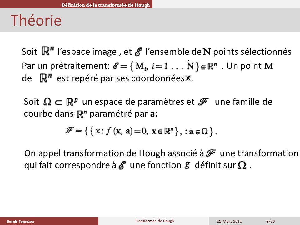 Bernis Fomazou 11 Mars 2011 Transformée de Hough 3/10 Théorie Définition de la transformée de Hough Soit un espace de paramètres et une famille de cou