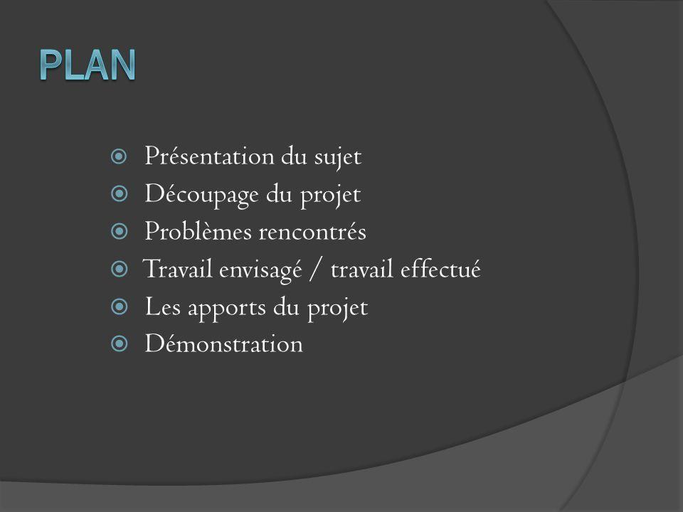 Présentation du sujet Découpage du projet Problèmes rencontrés Travail envisagé / travail effectué Les apports du projet Démonstration