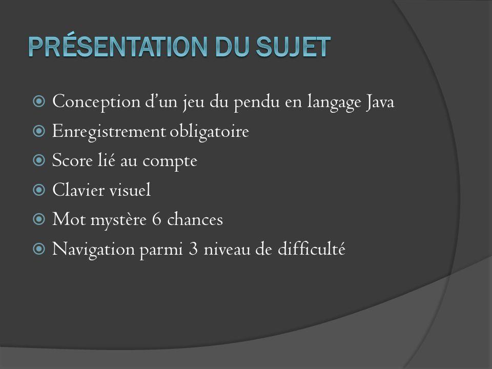 Conception dun jeu du pendu en langage Java Enregistrement obligatoire Score lié au compte Clavier visuel Mot mystère 6 chances Navigation parmi 3 niv