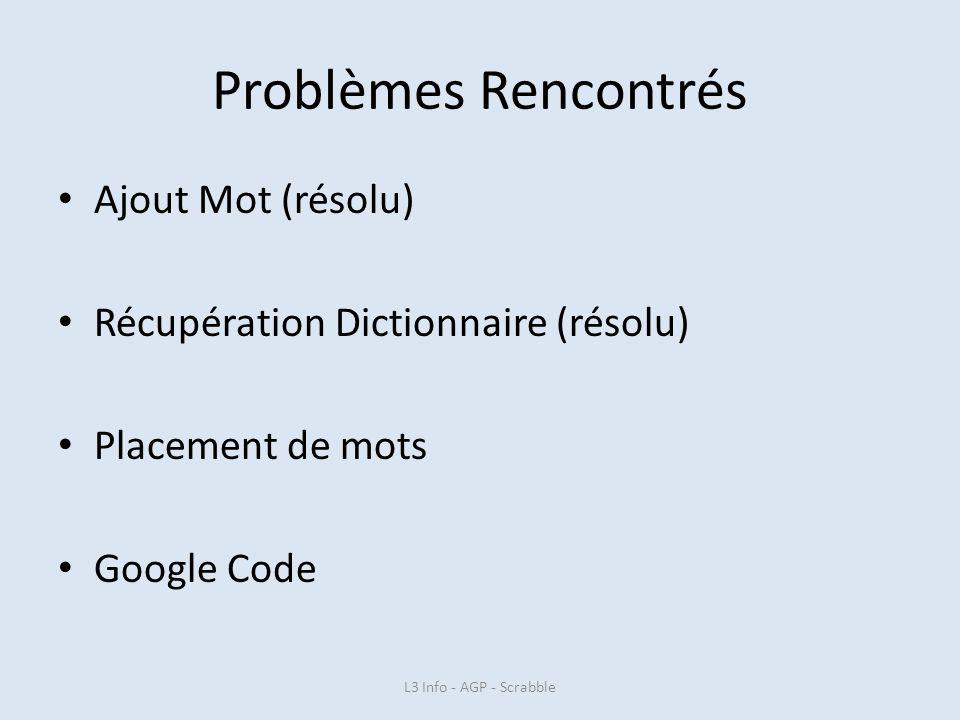 Problèmes Rencontrés Ajout Mot (résolu) Récupération Dictionnaire (résolu) Placement de mots Google Code L3 Info - AGP - Scrabble