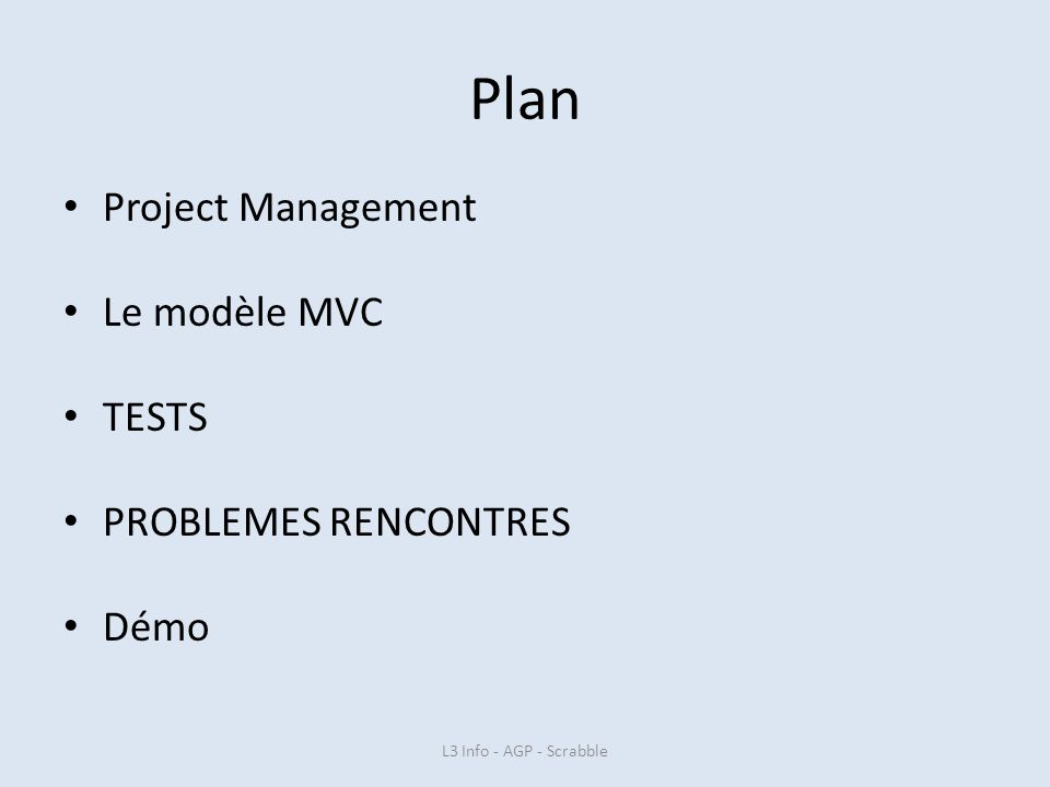 Plan Project Management Le modèle MVC TESTS PROBLEMES RENCONTRES Démo L3 Info - AGP - Scrabble