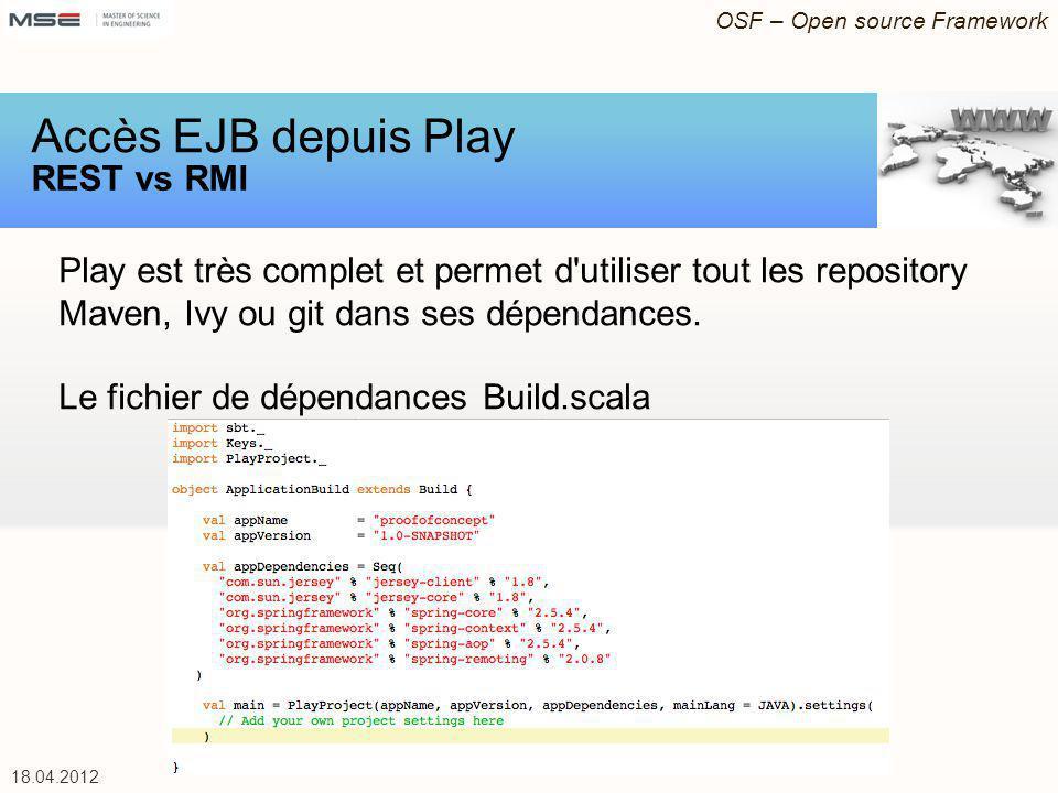 OSF – Open source Framework 18.04.2012 Play est très complet et permet d utiliser tout les repository Maven, Ivy ou git dans ses dépendances.