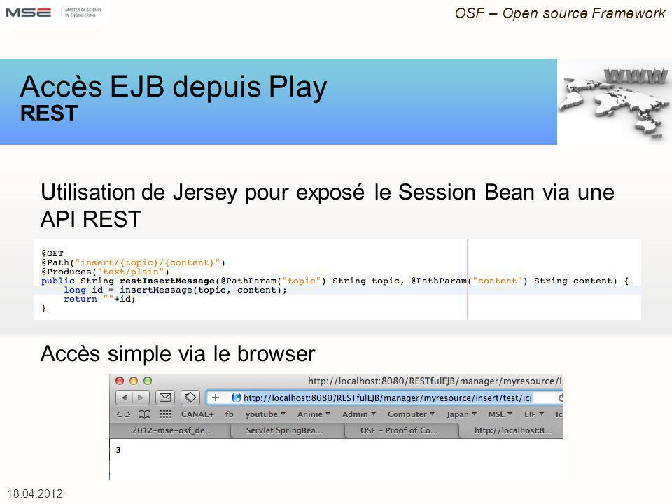 OSF – Open source Framework 18.04.2012 Utilisation de Jersey pour exposé le Session Bean via une API REST Accès simple via le browser Accès EJB depuis Play REST