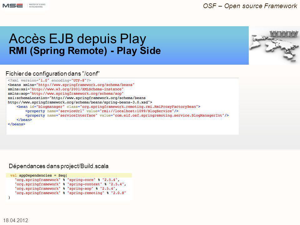 OSF – Open source Framework 18.04.2012 Fichier de configuration dans