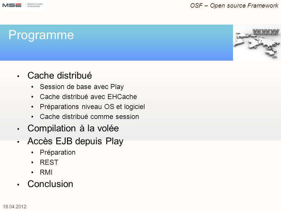 18.04.2012 Cache distribué Session de base avec Play Cache distribué avec EHCache Préparations niveau OS et logiciel Cache distribué comme session Com