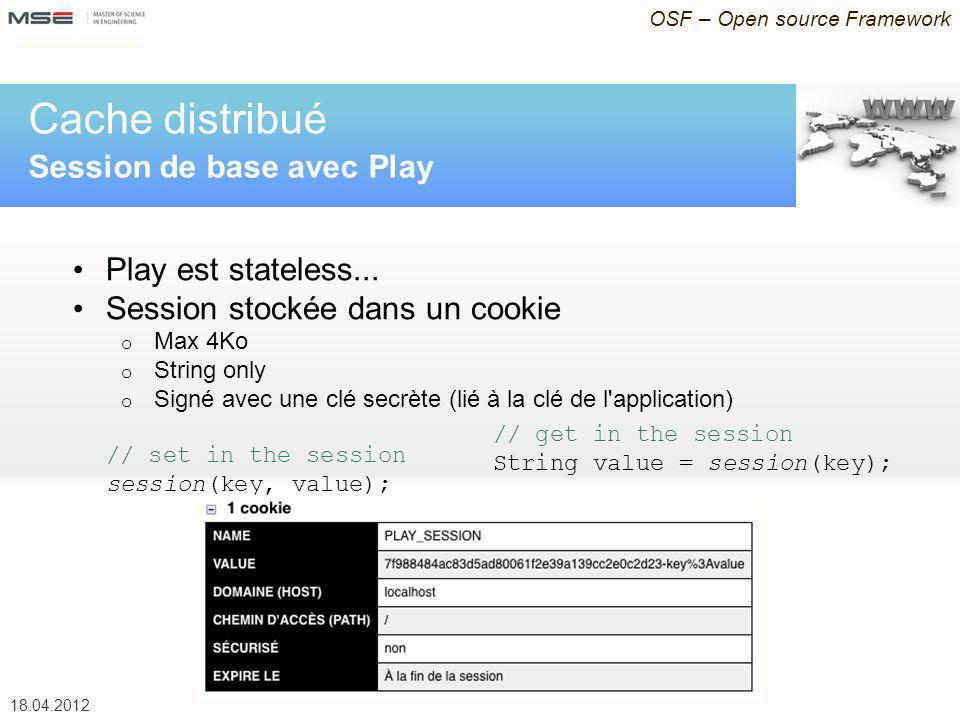 OSF – Open source Framework 18.04.2012 Play est stateless... Session stockée dans un cookie o Max 4Ko o String only o Signé avec une clé secrète (lié