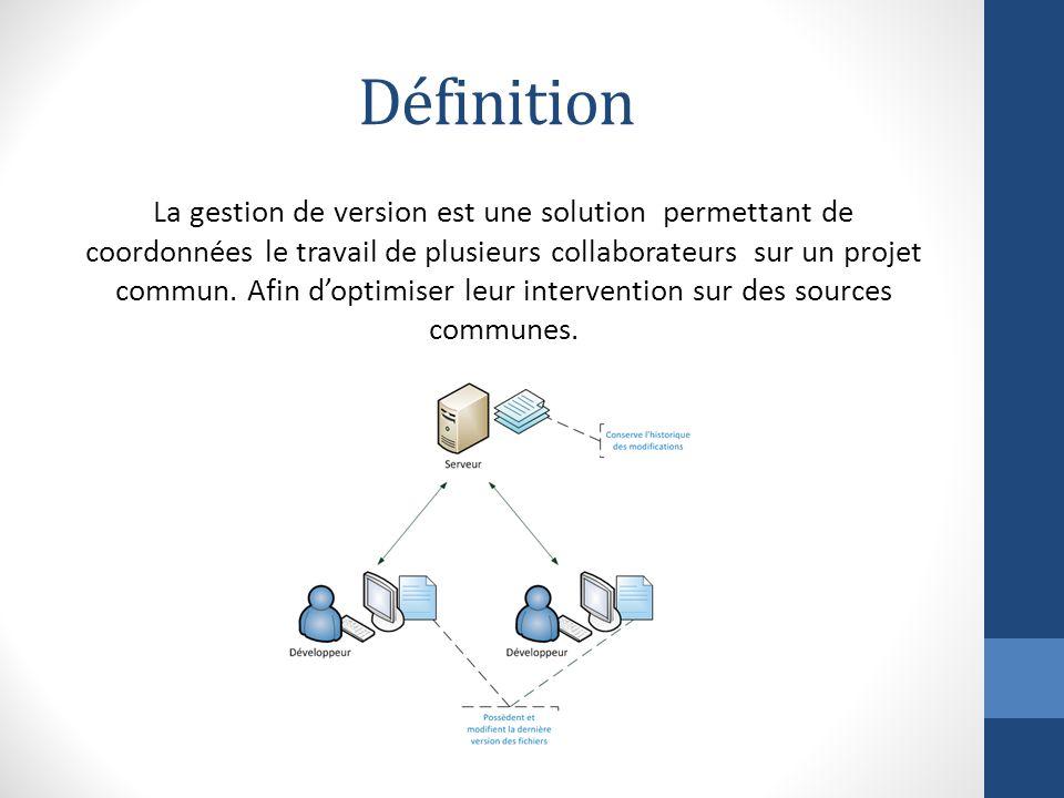 Définition La gestion de version est une solution permettant de coordonnées le travail de plusieurs collaborateurs sur un projet commun.