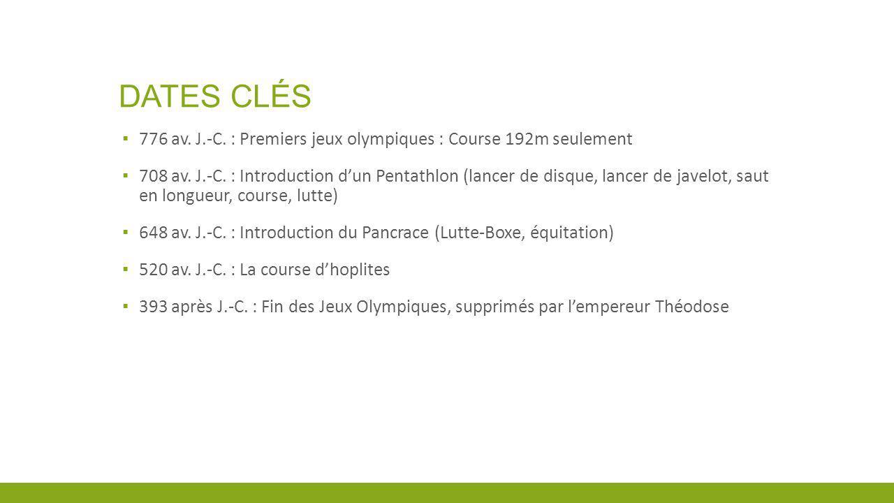 DATES CLÉS 776 av. J.-C. : Premiers jeux olympiques : Course 192m seulement 708 av. J.-C. : Introduction dun Pentathlon (lancer de disque, lancer de j