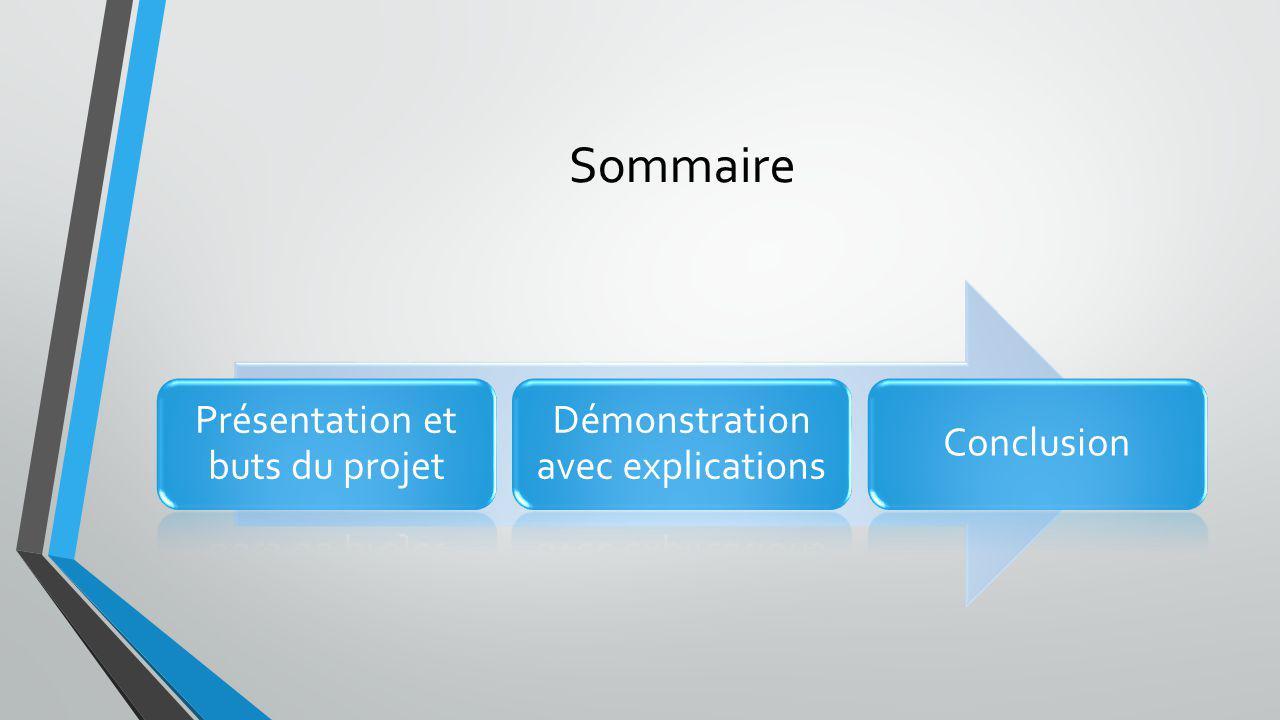 Sommaire Présentation et buts du projet Démonstration avec explications Conclusion