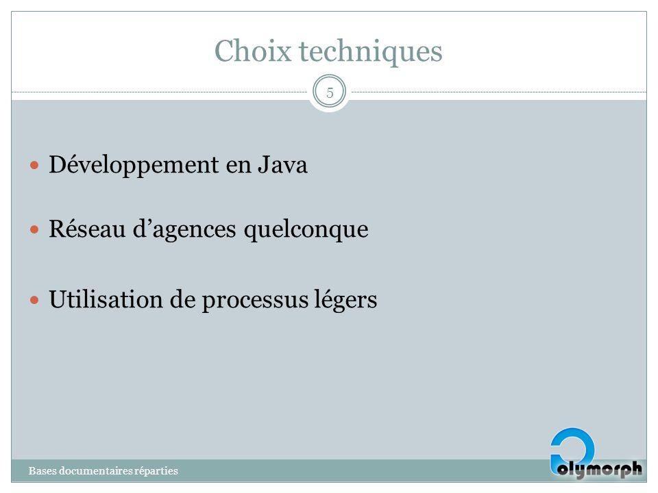 Choix techniques Développement en Java Réseau dagences quelconque Utilisation de processus légers 5 Bases documentaires réparties