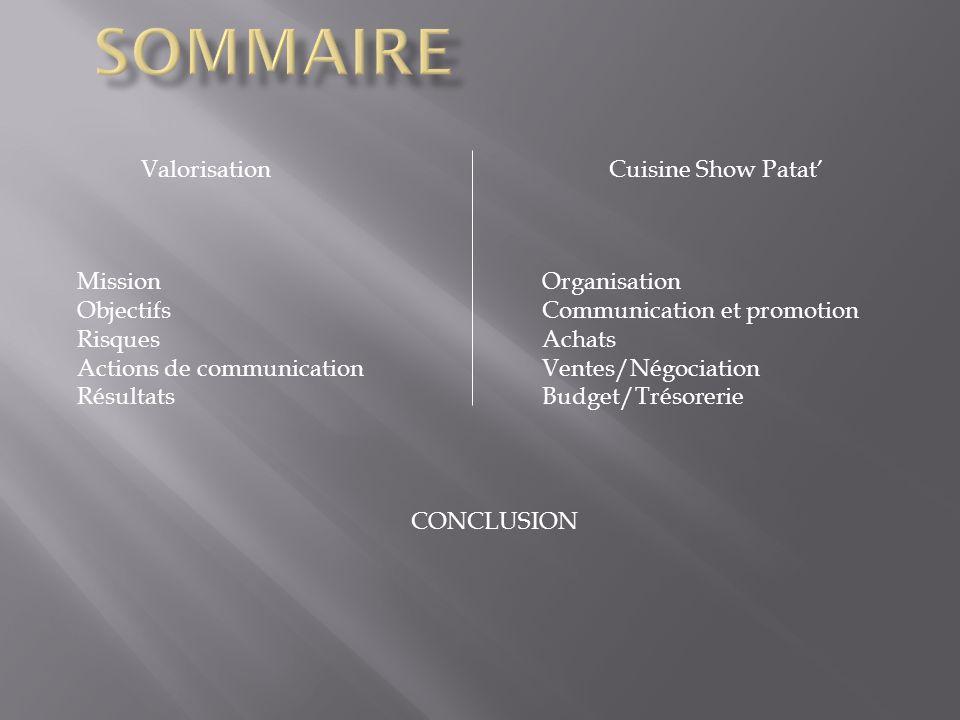 ValorisationCuisine Show Patat Mission Objectifs Risques Actions de communication Résultats Organisation Communication et promotion Achats Ventes/Négo