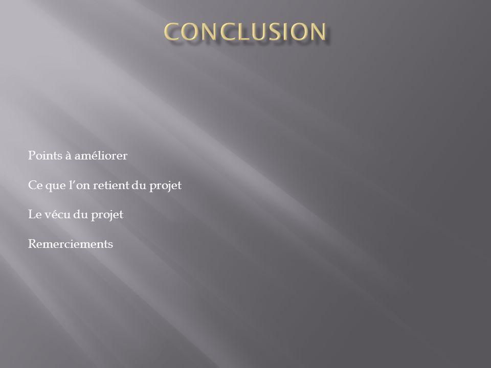 Points à améliorer Ce que lon retient du projet Le vécu du projet Remerciements